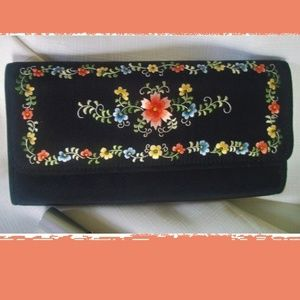 Black Silk Floral Embroidered Clutch Bag NWT
